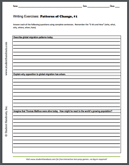 Patterns of Change Writing Exercises Handouts - Free to print (PDF files) for high school World History students.