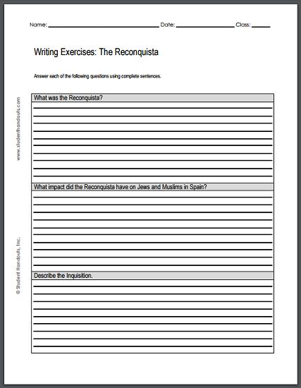 Spanish Reconquista Writing Exercises - Free to print (PDF file).