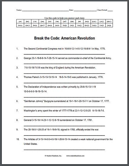 american revolution printable worksheets calleveryonedaveday. Black Bedroom Furniture Sets. Home Design Ideas
