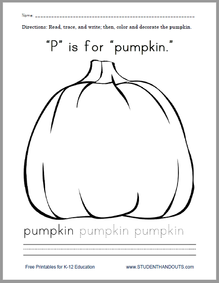 """P"" Is for ""Pumpkin"" Worksheet - Free to print (PDF file)."