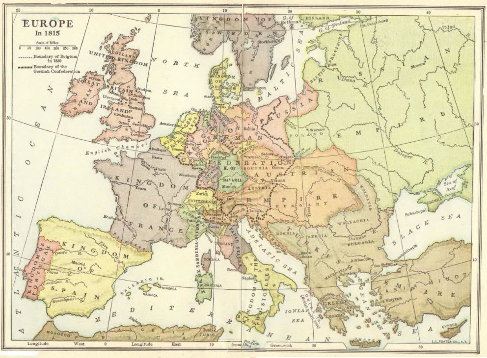 Map of europe in 1815 post napoleon student handouts map of europe in 1815 following the defeat of frances napoleon bonaparte gumiabroncs Choice Image