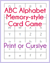 ABC Alphabet Memory-Style Game in Print or Cursive