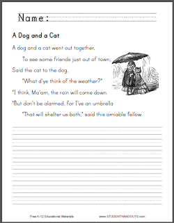 """""""A Dog and a Cat"""" Nursery Rhyme Worksheets - Free to print (PDF files)."""