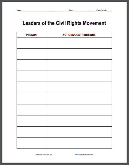 Leaders of the Civil Rights Movement Blank Chart Handout - Free to print (PDF file) for high school United States History students.