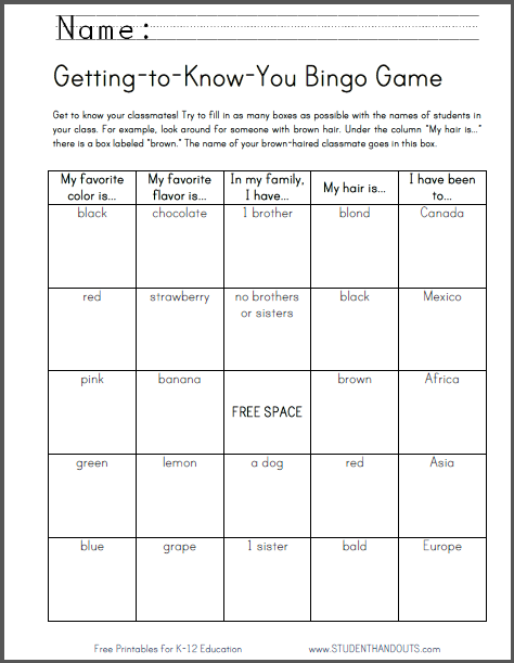 Getting-to-Know-You Bingo Game
