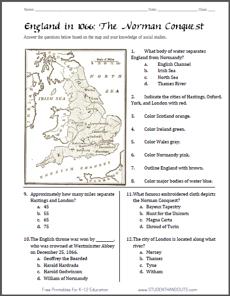 Norman Conquest Map Worksheet - Free to print (PDF file).