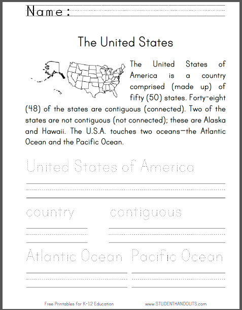 United States Primary Worksheet