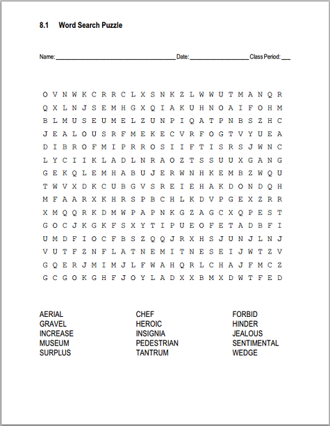 81 Vocabulary Terms Word Search Puzzle