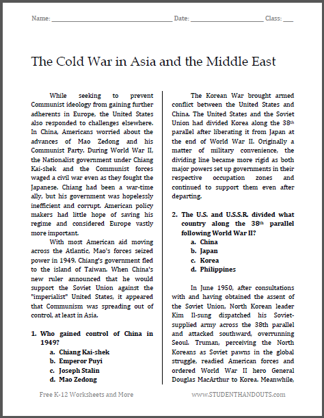 cold war essay test questions American history: a survey the nature and extent of american fears of internal communist subversion during the early cold war essay study questions.