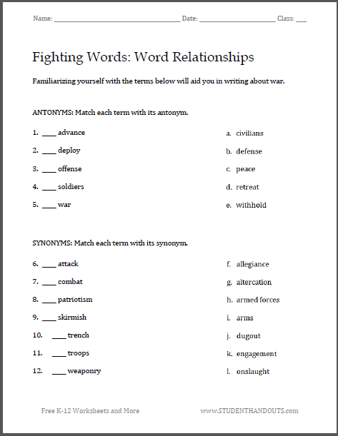 Fighting Words: War Writing Worksheets - Helpful vocabulary terms for writing about war. Free to print.