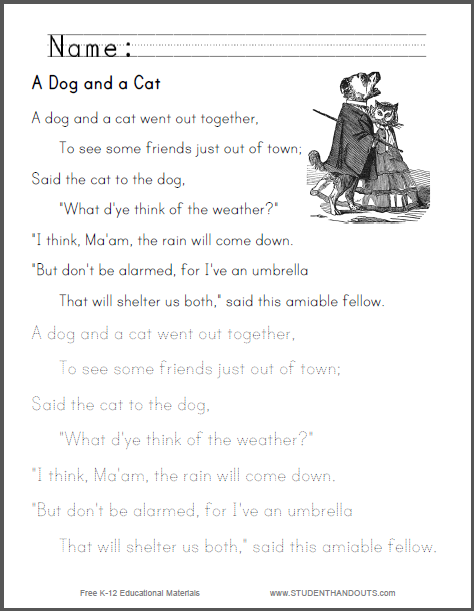 A Dog And Cat Nursery Rhyme Worksheets Free To Print Pdf