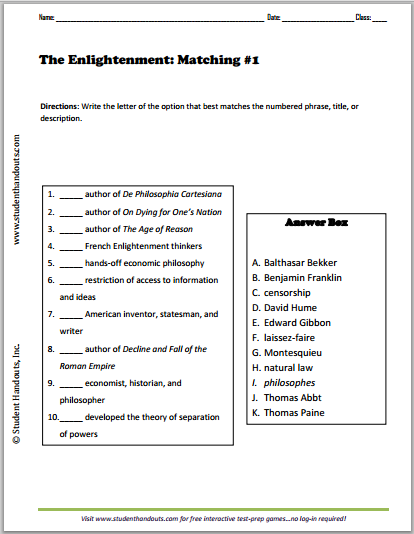 Worksheets Enlightenment Worksheet enlightenment matching worksheets student handouts five free printable each with ten terms and names to