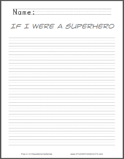 if i were a superhero writing prompt student handouts writing prompt to print pdf