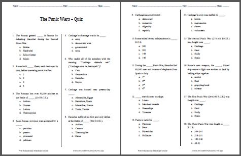 punic wars worksheet