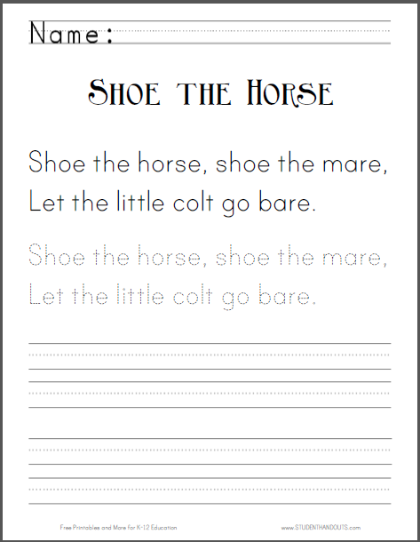 Shoe the Horse Worksheet   Student Handouts