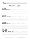 American Coins Identification, Handwriting, and Spelling Worksheet