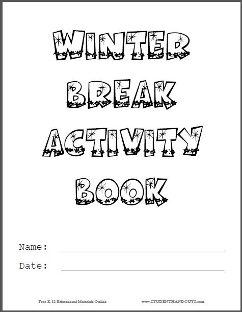 Winter Break DIY Activity Book Cover