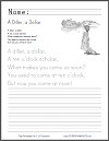 A Diller, a Dollar - Nursery rhyme worksheets.