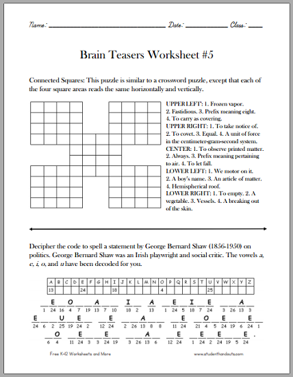 brain teasers for kids worksheet 5 free to print pdf file. Black Bedroom Furniture Sets. Home Design Ideas