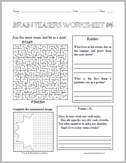 math worksheet : brain teasers worksheet 6  student handouts : Brain Teasers For High School Students