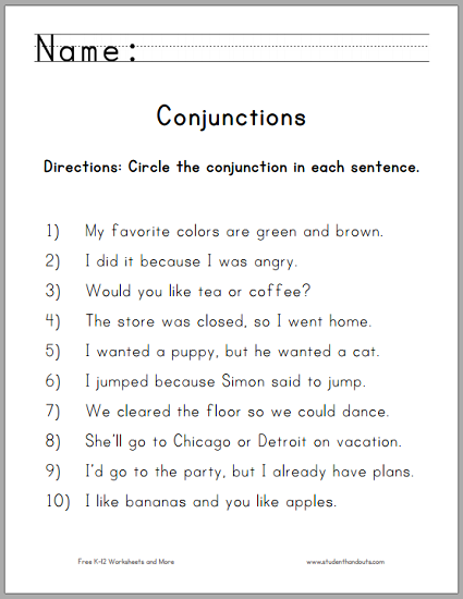 Printables Conjunction Worksheets circle the conjunctions worksheet student handouts