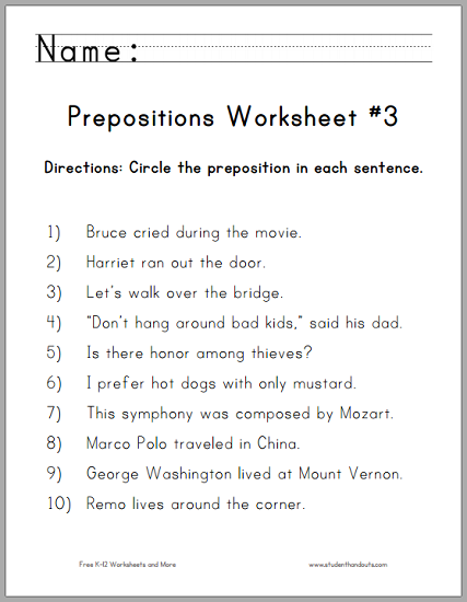 English worksheets for grade 6 prepositions