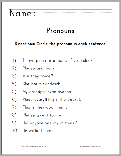 Circle the Pronouns Worksheet for First Grade | Student Handouts