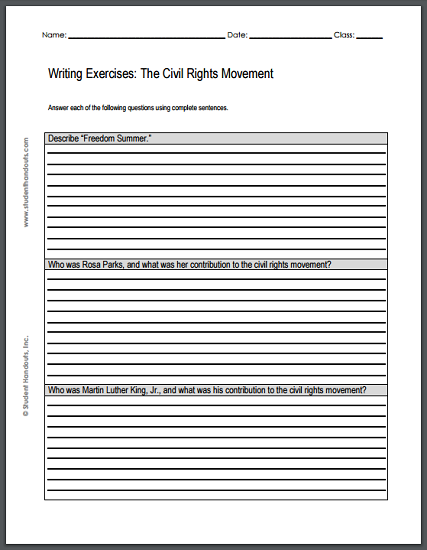 civil rights movement writing exercises handout who was rosa parks and what was her contribution to the civil rights movement 3 who was martin luther king jr and what was his contribution to the
