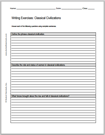 classical civilizations writing exercises student handouts