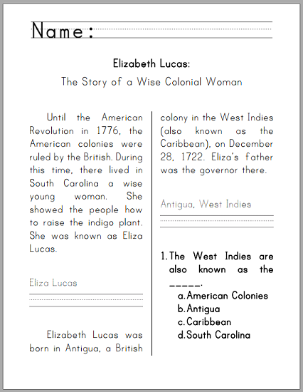 Eliza Lucas Workbook for Kids - For lower elementary. Free to print (PDF file).