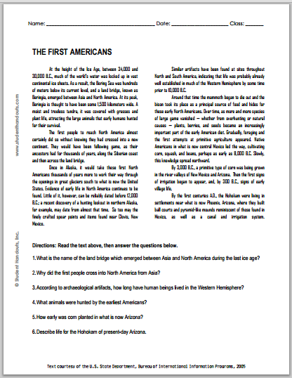 The First Americans Free Printable American History