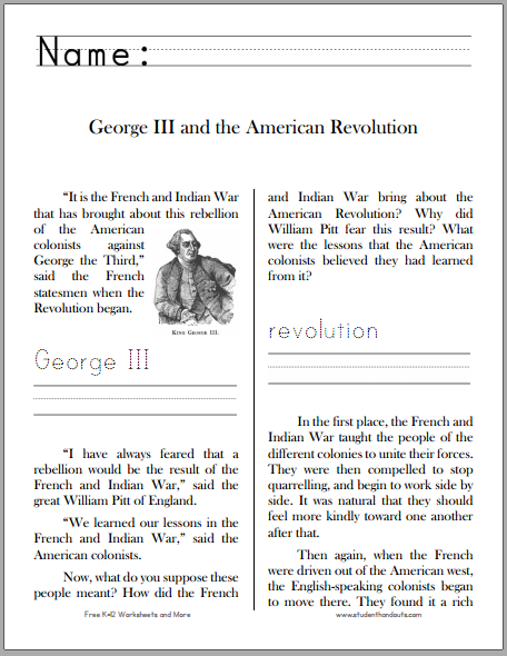 George III and the American Revolution - Free printable workbook for lower elementary.
