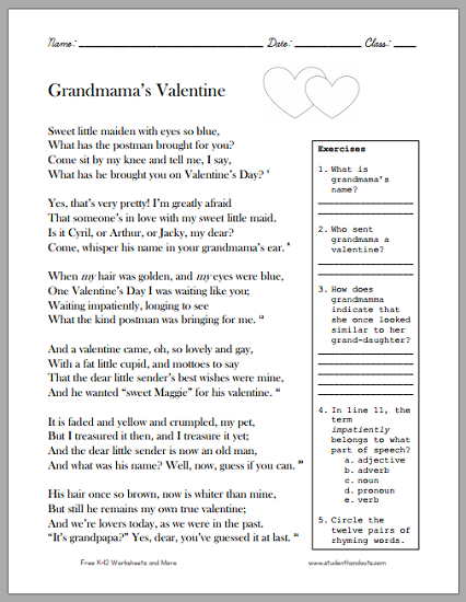 this fun valentines day worksheet has students read a poem and answer ela questions the poem dates to the victorian period
