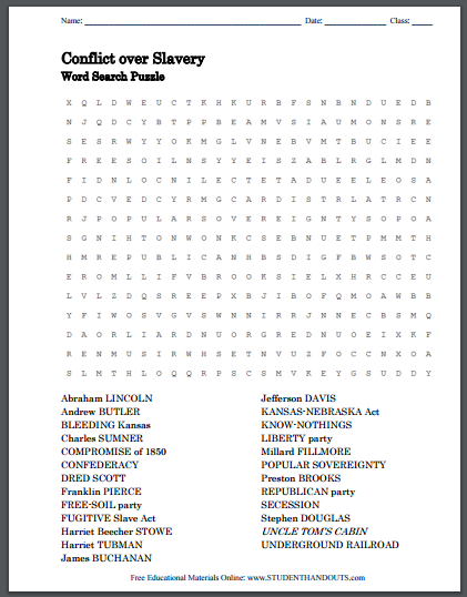 Conflict over Slavery Word Search Puzzle | Student Handouts