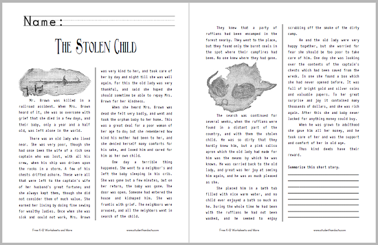 Worksheets Short Stories For Grade Six the stolen child story handout student handouts after reading students are asked to provide a summary designed for grades 4 6