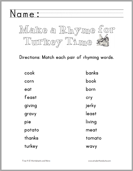 Thanksgiving Rhyming Words Worksheet | Student Handouts