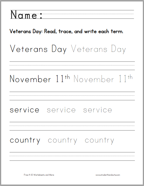 Printables Veterans Day Worksheets veterans day handwriting worksheet for k 1 student handouts young students combine print manuscript and spelling practice while learning the significance of celebrated annu