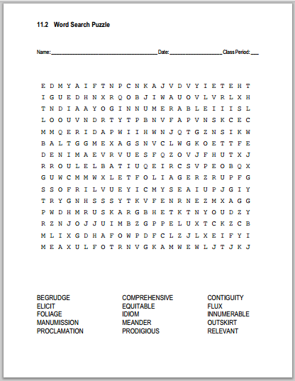 Click here to print this word search puzzle (PDF file). Click here for the answer key.