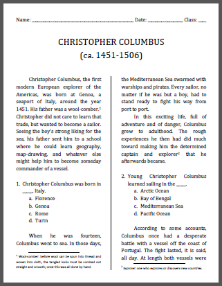 Christopher columbus workbook for grades 4 6 student handouts it includes multiple choice and extended answer questions cursive script handwriting practice map gumiabroncs Choice Image