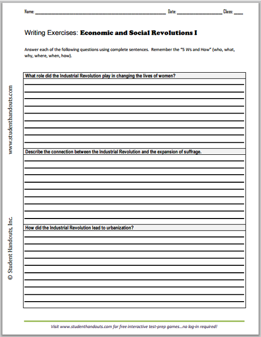 economic and social revolutions essays student handouts