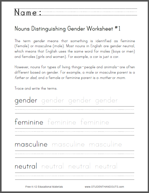 Nouns Distinguishing Gender Worksheet #1 | Student Handouts