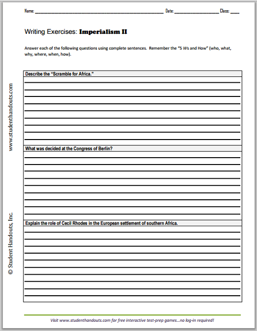 Imperialism Essay Questions 2 – American Imperialism Worksheet