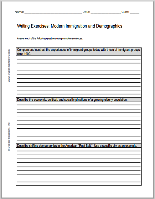 Modern Classroom Paragraph : Compare and contrast the experiences of immigrant groups