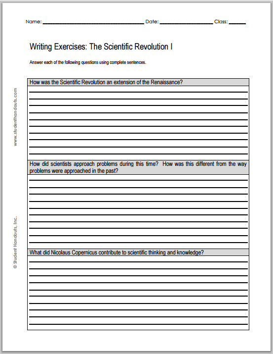 scientific revolution essay questions student handouts