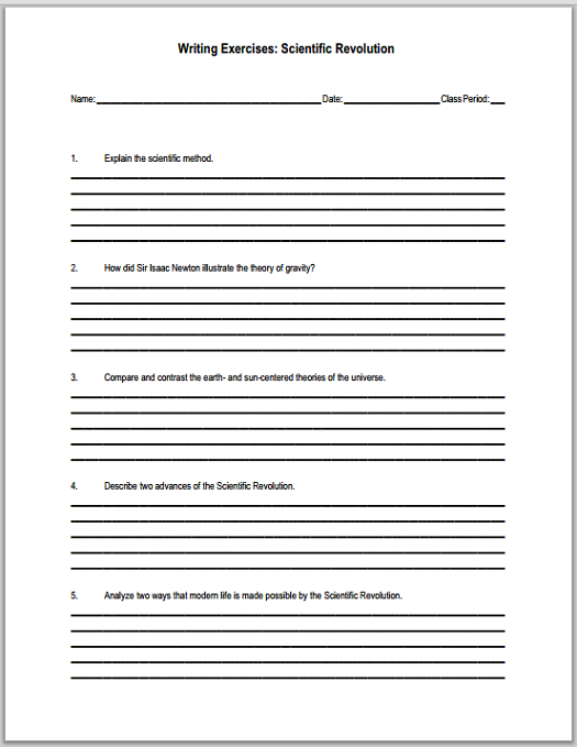 scientific revolution essay questions student handouts explain the scientific method