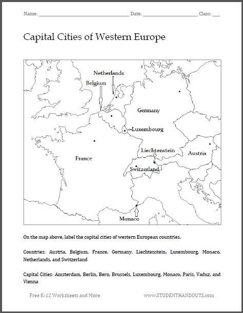 Capital Cities Of Western Europe Map Worksheet - World map with countries and their capitals pdf