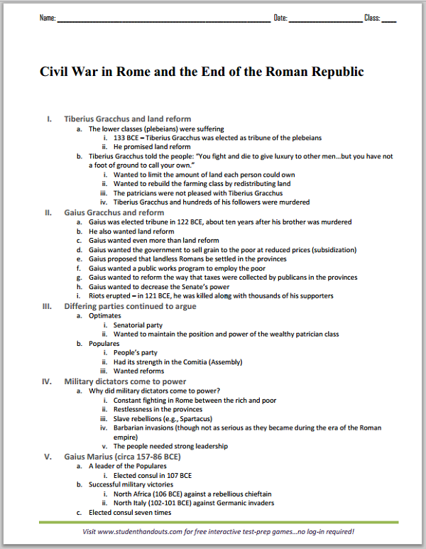 civil war in rome and the end of the roman republic printable outline student handouts. Black Bedroom Furniture Sets. Home Design Ideas