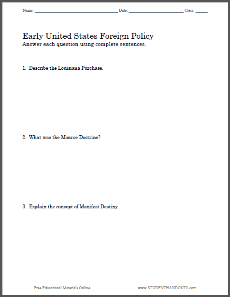 early u s foreign policy essay questions sheet student handouts