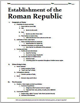 Establishment of the Roman Republic Printable Outline