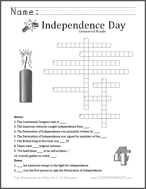 fourth of july crossword puzzle free to print pdf file. Black Bedroom Furniture Sets. Home Design Ideas